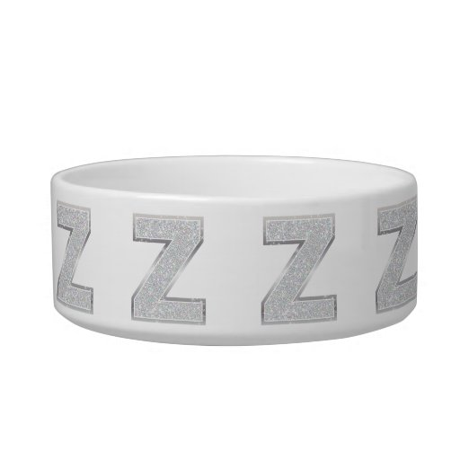 Silver Letter Z Pet Bowl