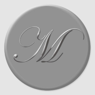 silver letters classic round sticker