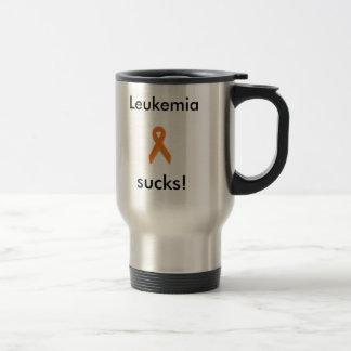 silver, Leukemia sucks! travel mug.. 15 Oz Stainless Steel Travel Mug