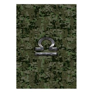 Silver Libra Zodiac Green Digital Camo Large Business Card