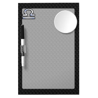Silver Libra Zodiac Sign on black snake skin style Dry Erase Board With Mirror