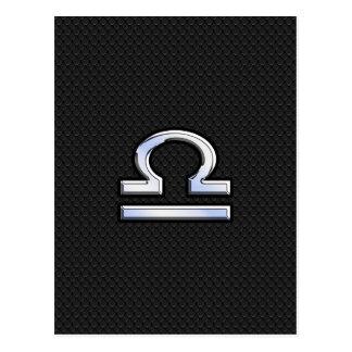 Silver Libra Zodiac Sign on black snake skin style Postcard