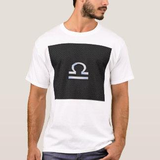 Silver Libra Zodiac Sign on black snake skin style T-Shirt