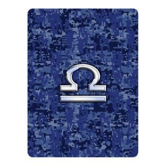 Silver Libra Zodiac Sign on blue digital camo Card