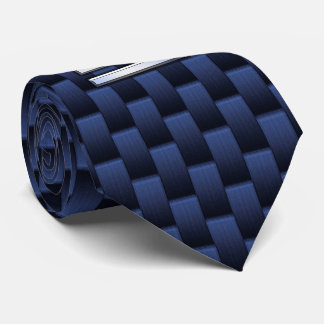 Silver Libra Zodiac Symbol Navy Blue Carbon Fiber Tie