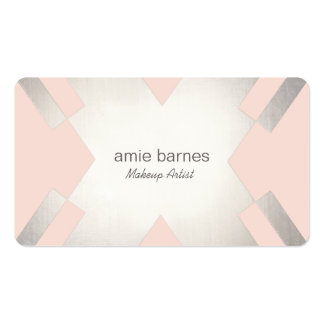 Silver & Light pink Cosmetology Hair and Makeup Business Card Templates