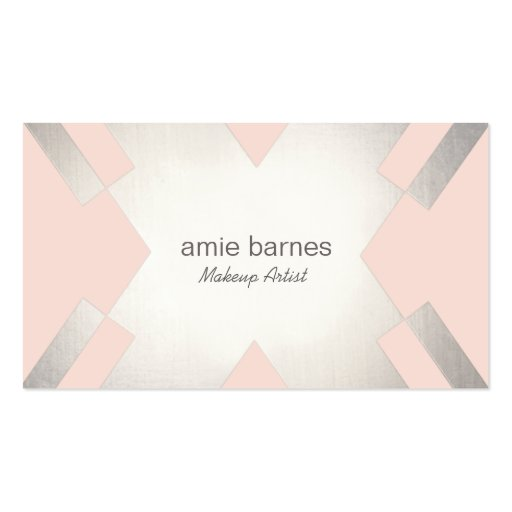 Silver light pink cosmetology hair and makeup business for Hair and makeup business cards