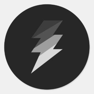 Silver Lightning Thunder Bolt Classic Round Sticker