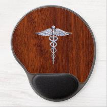 Silver Like Caduceus Medical Symbol Mahogany Print Gel Mouse Pad