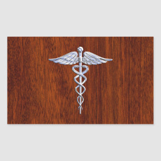 Silver Like Caduceus Medical Symbol Mahogany Print Rectangular Sticker