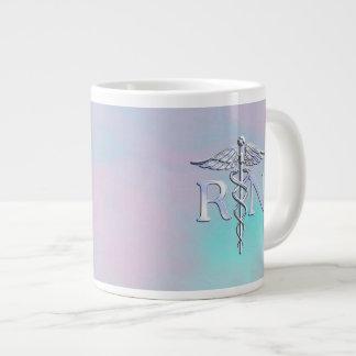 Silver Like RN Caduceus Medical Mother Pearl Large Coffee Mug