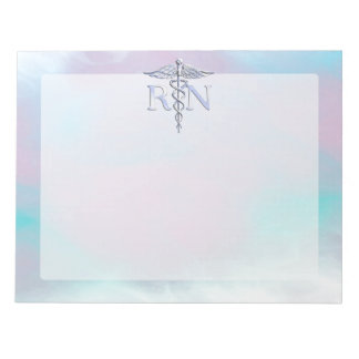 Silver Like RN Caduceus Medical Mother Pearl Notepad