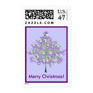 Christmas Themed Silver-Lilac Christmas Tree Postage