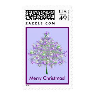 Silver-Lilac Christmas Tree Postage