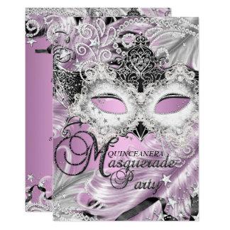 Silver Lilac Sparkle Mask Masquerade Quinceanera Card