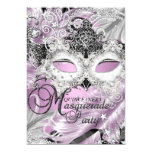 Silver Lilac Sparkle Mask Masquerade Quinceanera Card