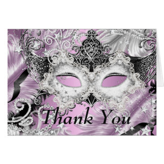 Silver Lilac Sparkle Mask Masquerade Thank You Card