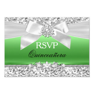 Silver Lime Green Glitter Bow Quinceanera RSVP Card