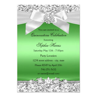 Silver Lime Green Glitter Jewel Bow Quinceanera Card