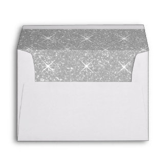 Silver lined envelopes with faux glittery sparkles
