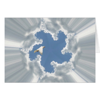 Silver lining cloud with flying dove card