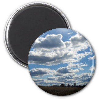 Silver Lining Clouds Sky 2 Inch Round Magnet