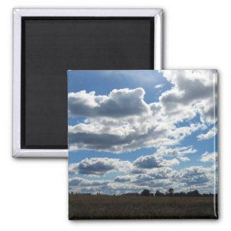Silver Lining Clouds Sky 2 Inch Square Magnet