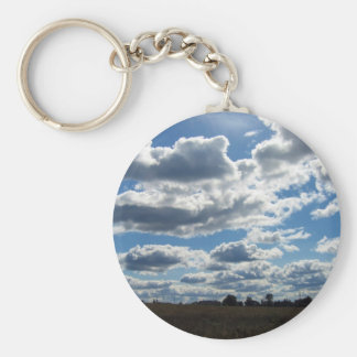 Silver Lining Clouds Sky Keychain
