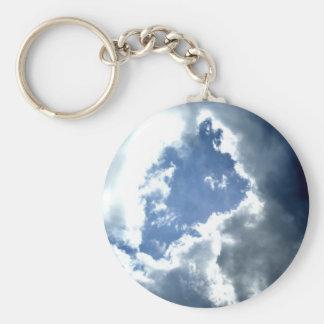 Silver Lining Basic Round Button Keychain