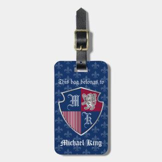 Silver Lion Coat of Arms Monogram Emblem Shield Bag Tag
