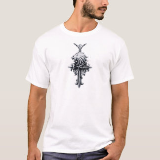 Silver Lion's Head Religious Crucifix Cross Chain T-Shirt