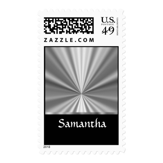 silver look and black postage