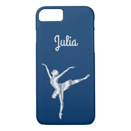 Silver look ballerina in Midnight Blue Phone Case