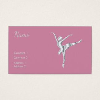 Silver look ballerina in PINK Business Card