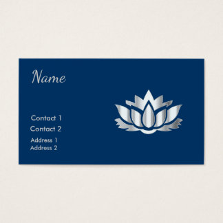 Silver look lotus flower in Midnight Blue Business Card