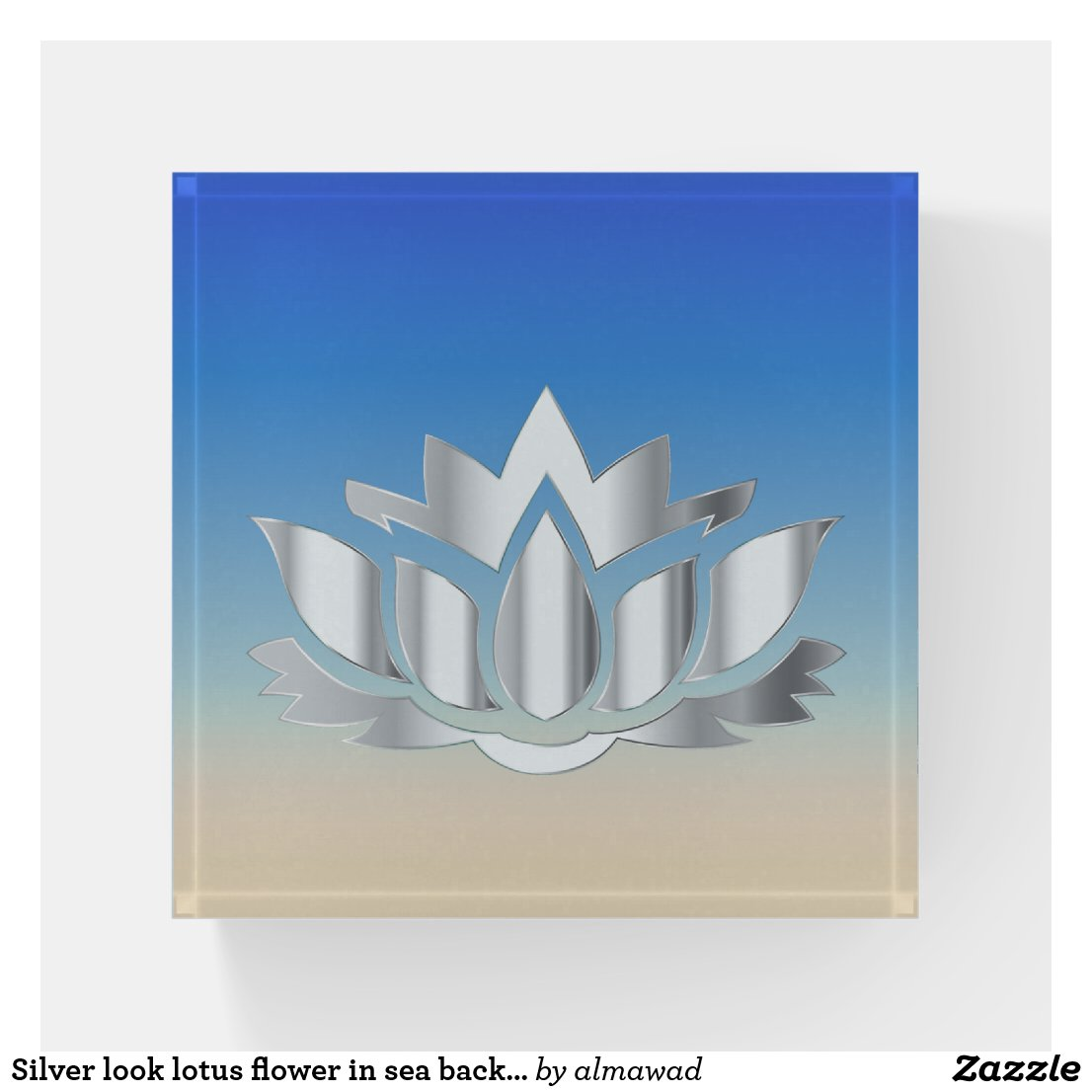 Silver look lotus flower in sea background paperweight