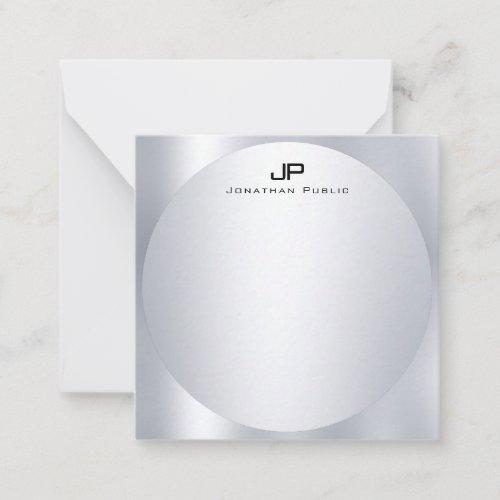 Silver Look Monogram Personalized Elegant Template