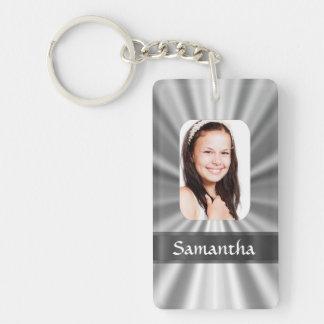 Silver look photo template Double-Sided rectangular acrylic keychain