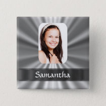 Silver look photo template pinback button