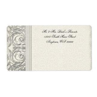 Silver Look Swirl Heart Elegant Wedding Address Shipping Label