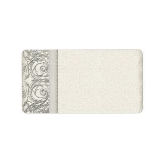 Silver Look Swirl Heart Elegant Wedding Address Label