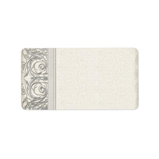 Silver Look Swirl Heart Elegant Wedding Address Labels
