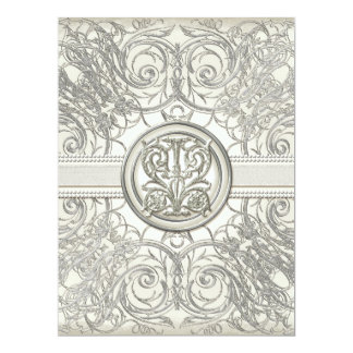 Silver Look Swirl Heart Elegant Wedding Invitation
