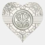 Silver Look Swirl Heart Elegant Wedding Seals Heart Stickers
