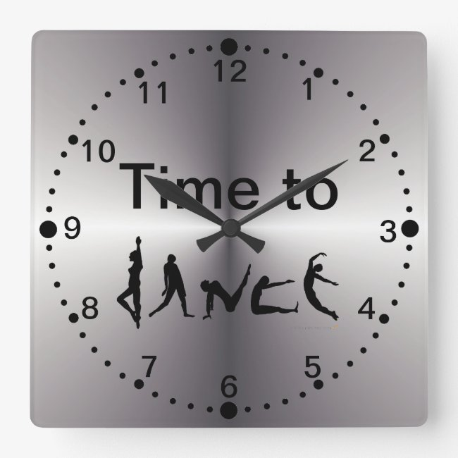 Silver Look Time to Dance Dancers Wall Clock squar
