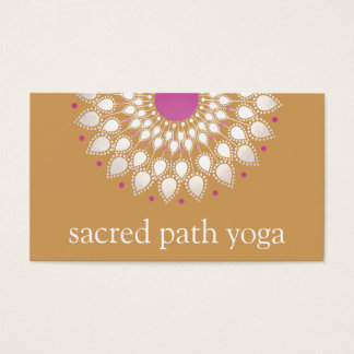 Silver Lotus Mandala Floral Yoga Teacher Business Card