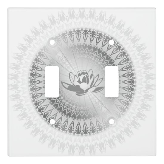 Silver Lotus Mandala Light Switch Cover