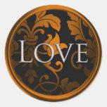 Silver Love Damask  Envelope Seal Stickers