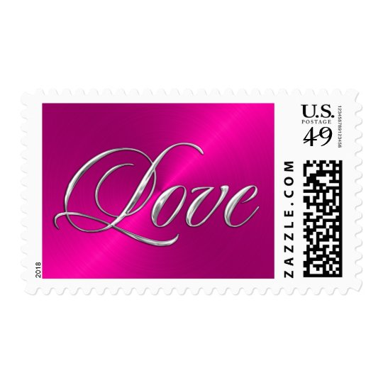 Silver Love on Hot Pink Sheen Postage