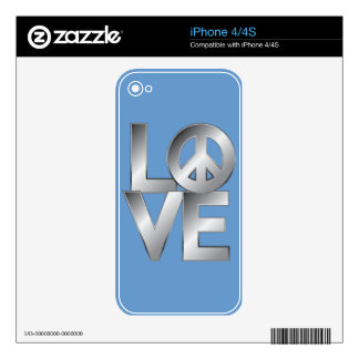 Silver LOVE=Peace Decal For iPhone 4S